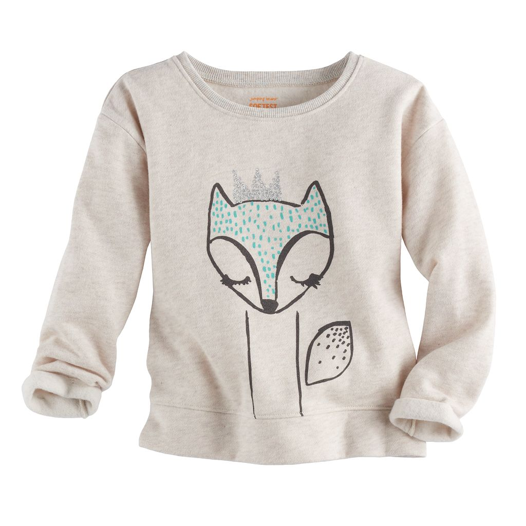 Toddler Girl Jumping Beans® Glittery Fox Fleece Pullover