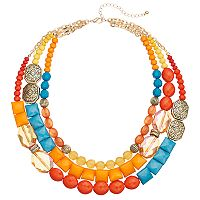 Chunky Beaded Multi Strand Necklace