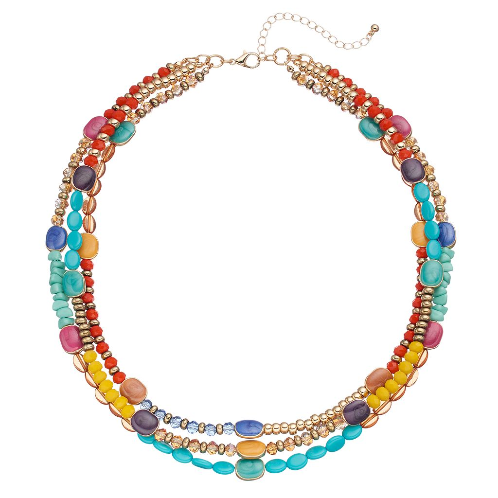 Multi Color Beaded Triple Strand Necklace