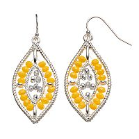 Yellow Beaded Marquise Drop Earrings