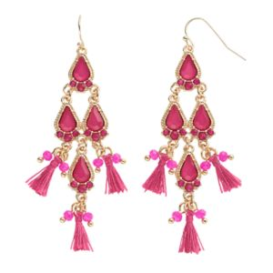 Magenta Teardrop & Tassel Kite Earrings