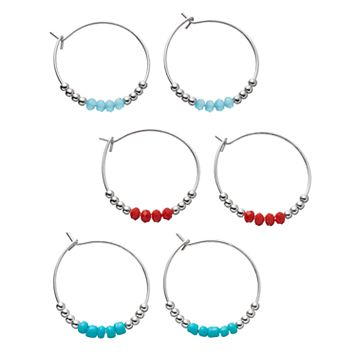 Beaded Hoop Earring Set