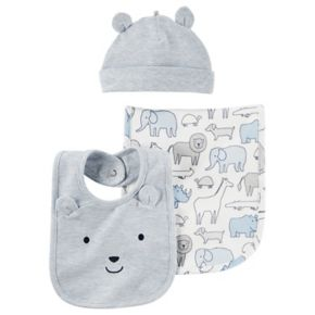 Baby Boy Carter's Animal Burp Cloth, Embroidered Hat & Bib Set