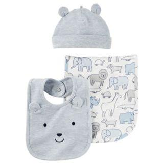 Baby Boy Carter's Animal Burp Cloth, Embroidered Hat & Bib Set