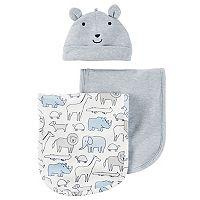 Baby Boy Carter's Animal Hat & Burp Cloth Set