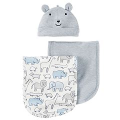 Baby Boy Carter's Animal Hat & Burp Cloth Set