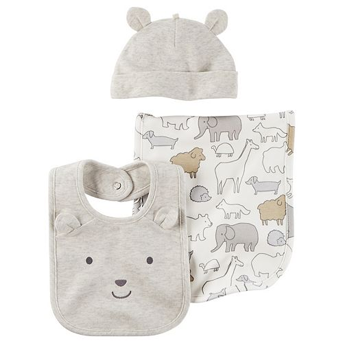 Baby Carter's Animal Burp Cloth, Solid Burp Cloth & Hat Set