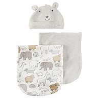 Baby Carter's 3-pc. Heathered Burp Cloth & Bear Hat Set