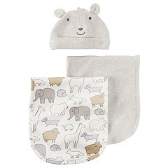 Baby Carter's 3 pc Heathered Burp Cloth & Bear Hat Set