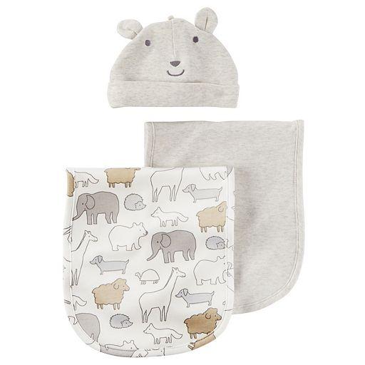 Baby Carter's 3-pc. Heathered Burp Cloth & Bear Hat Set