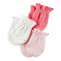 Baby Girl Carter's 3-pk. Heart & Solid Mitts