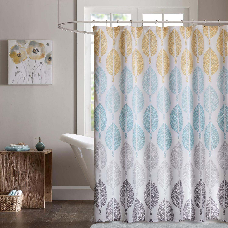 Superbe Madison Park Essentials Pelham Bay Printed Shower Curtain. Yellow Aqua  Coral Green