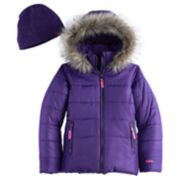 Girls 7-16 Hawke & Co Heavyweight Faux-Fur Trim Quilted Puffer Jacket with Hat
