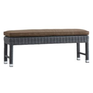 HomeVance Ravinia Charcoal Wicker Patio Bench
