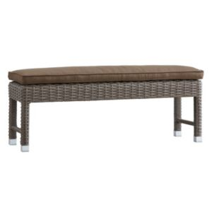 HomeVance Ravinia Mocha Wicker Patio Bench