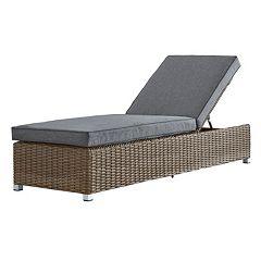 HomeVance Ravinia Mocha Wicker Chaise Lounge Chair