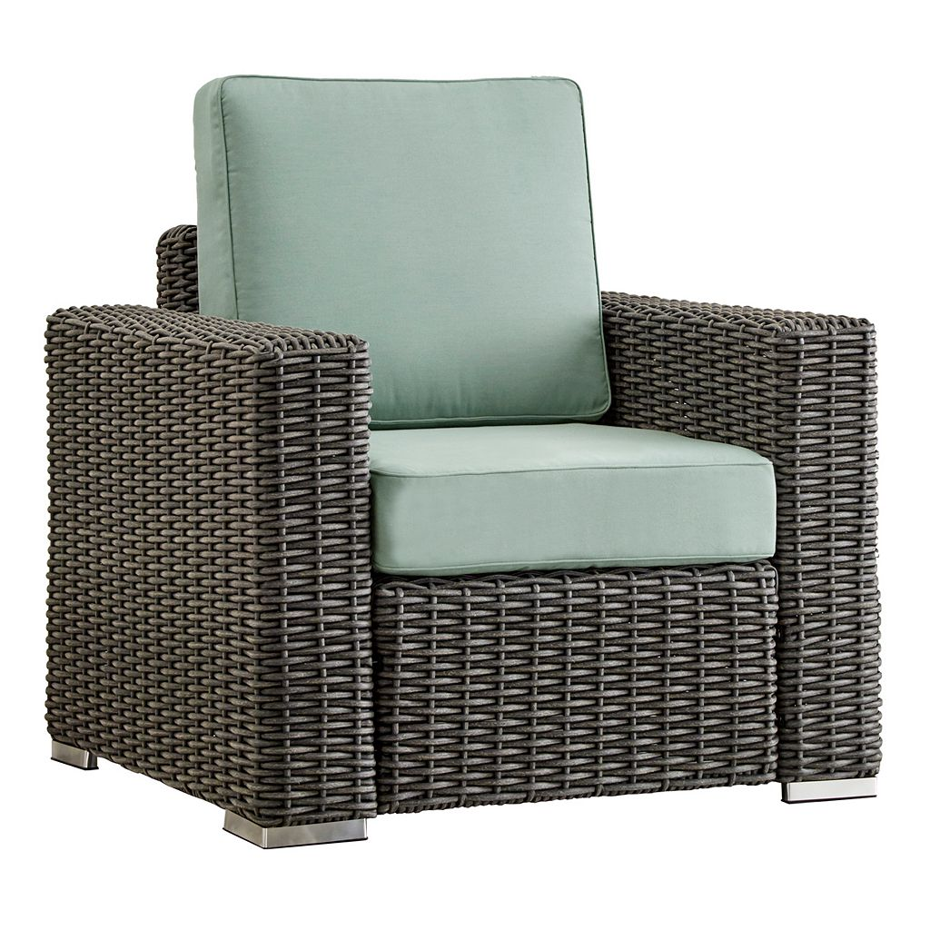 HomeVance Ravinia Charcoal Wicker Patio Arm Chair