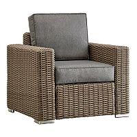 HomeVance Ravinia Mocha Wicker Patio Arm Chair