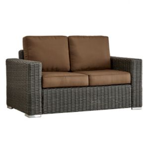 HomeVance Ravinia Charcoal Wicker Patio Loveseat