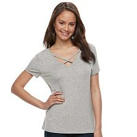 Juniors' SO® Solid Crisscross Tee
