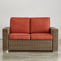 HomeVance Ravinia Mocha Wicker Patio Loveseat
