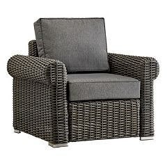 HomeVance Ravinia Charcoal Wicker Patio Round Arm Chair