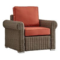 HomeVance Ravinia Mocha Wicker Patio Round Arm Chair