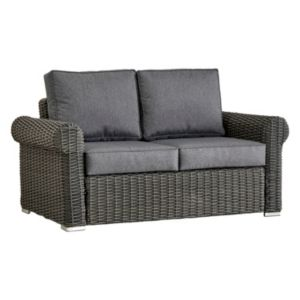 HomeVance Ravinia Charcoal Wicker Patio Round Arm Loveseat