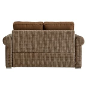 HomeVance Ravinia Mocha Wicker Patio Round Arm Loveseat