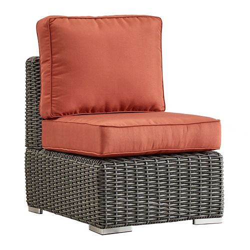 HomeVance Ravinia Charcoal Wicker Armless Patio Chair