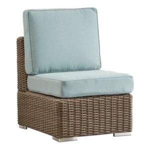 HomeVance Ravinia Mocha Wicker Armless Patio Chair