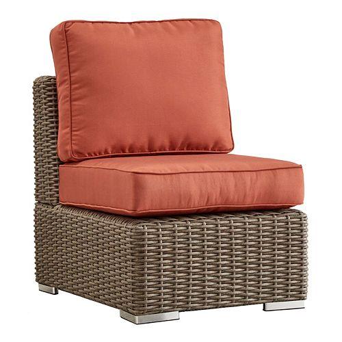 HomeVance Ravinia Mocha Wicker Armless Patio Chair