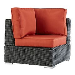 HomeVance Ravinia Charcoal Wicker Patio Corner Chair