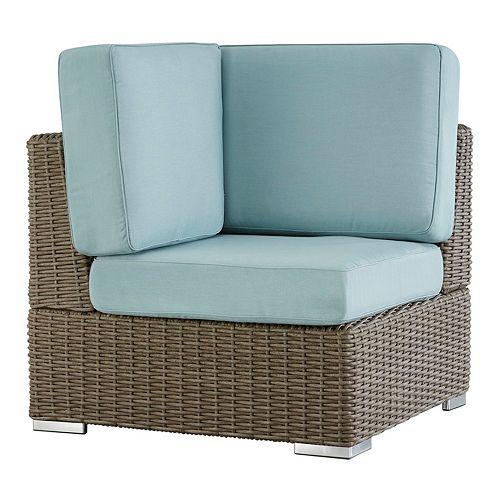 HomeVance Ravinia Mocha Wicker Patio Corner Chair