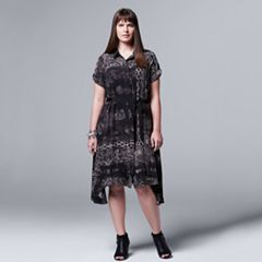 Plus Size Simply Vera Vera Wang Paisley Asymmetrical Shirtdress