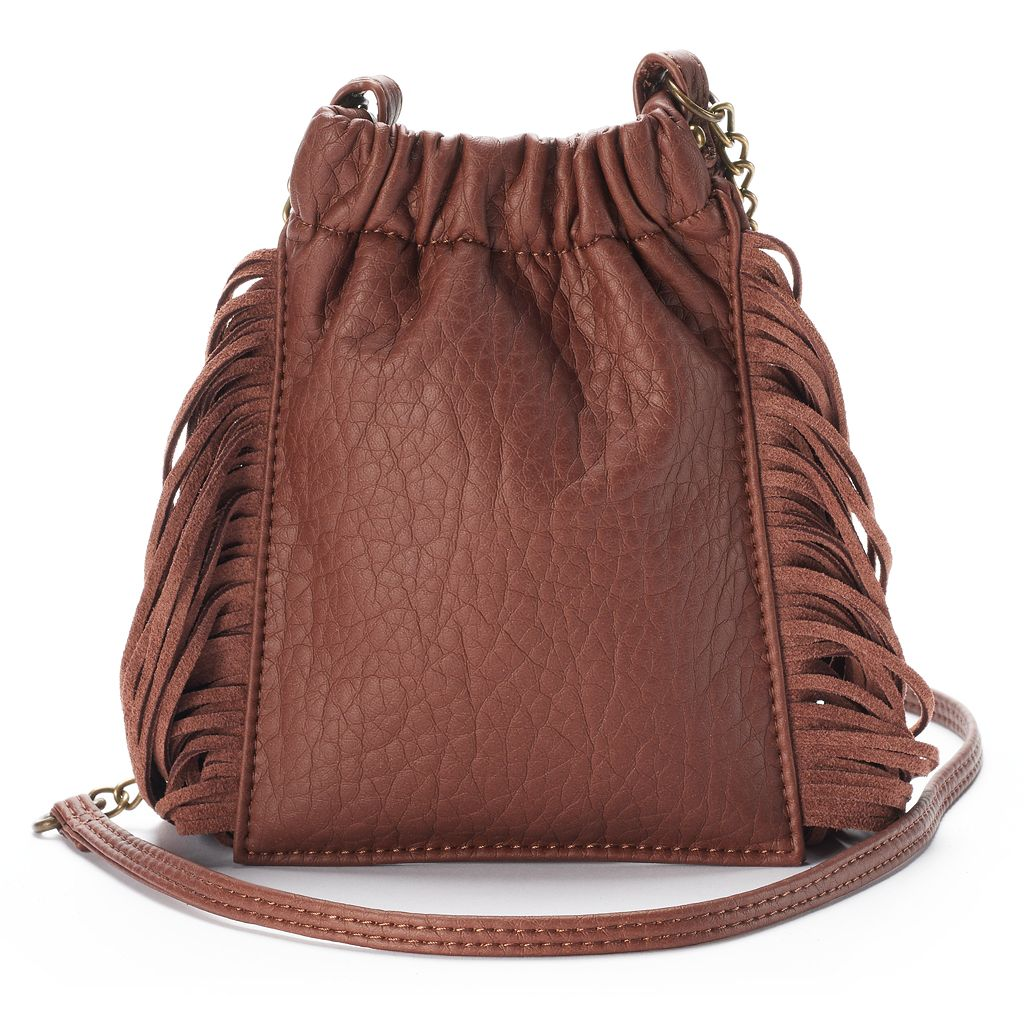 Mudd® Long Fringe & Studded Crossbody Bag