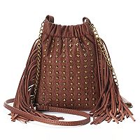 Mudd® Long Fringe & Studded Crossbody Bag