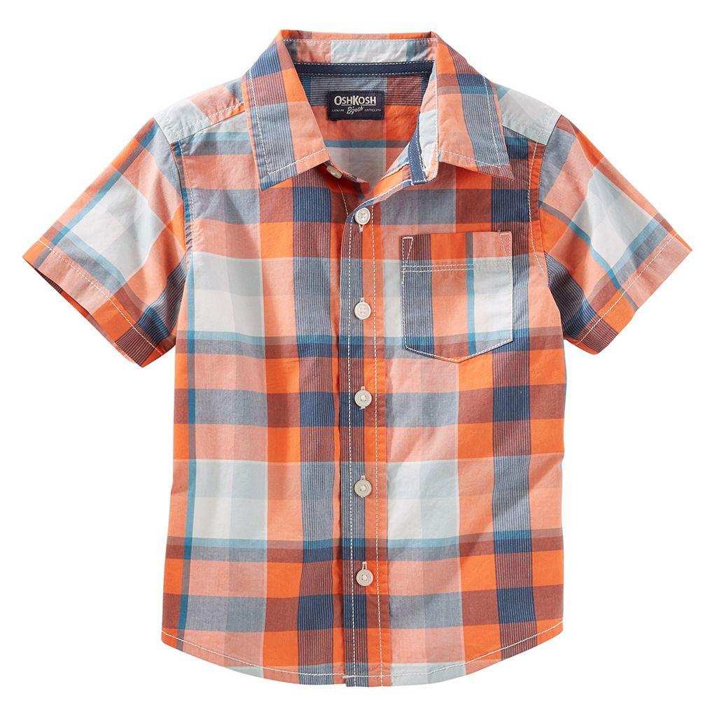 Boys 4-12 OshKosh B'gosh® Buffalo Check Short-Sleeved Button-Front Shirt