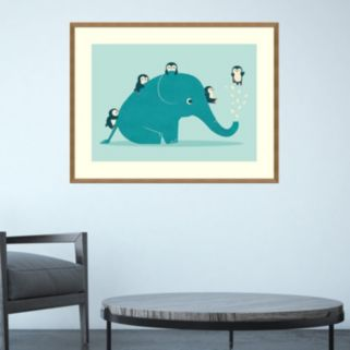 Amanti Art Waterslide Elephant & Penguins Framed Wall Art