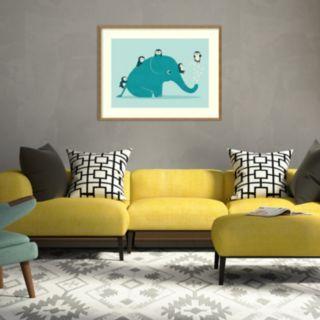 Amanti Art Waterslide Elephant & Penguins Framed Wall Art
