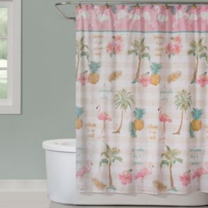 Saturday Knight, Ltd. Flamingo Garden Shower Curtain