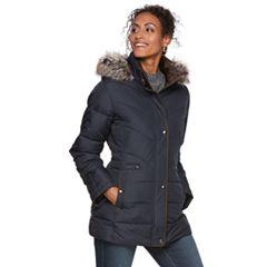 Women's Chaps Hooded Faux-Fur Trim Puffer Jacket