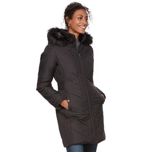 b9621445594 Women's Chaps Long Hooded Faux-Fur Trim Puffer Jacket
