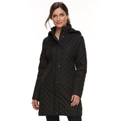 Women's Chaps Long Faux-Leather Trim Quilted Jacket
