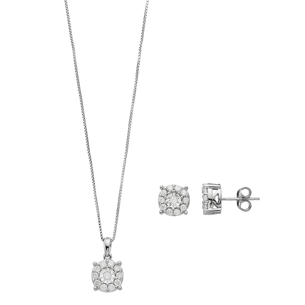 Sterling silver 1 carat tw diamond halo pendant stud earring set aloadofball Image collections