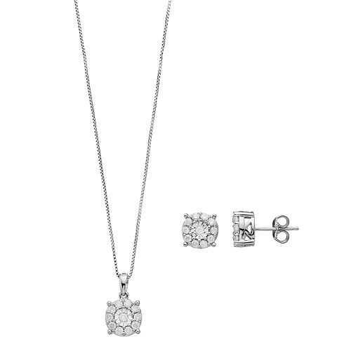 Sterling Silver 1 Carat T.W. Diamond Halo Pendant & Stud Earring Set