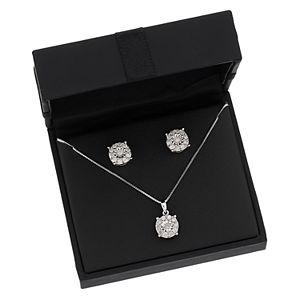 Sterling Silver 1 Carat T.W. Diamond Halo Pendant & Stud Earring Set