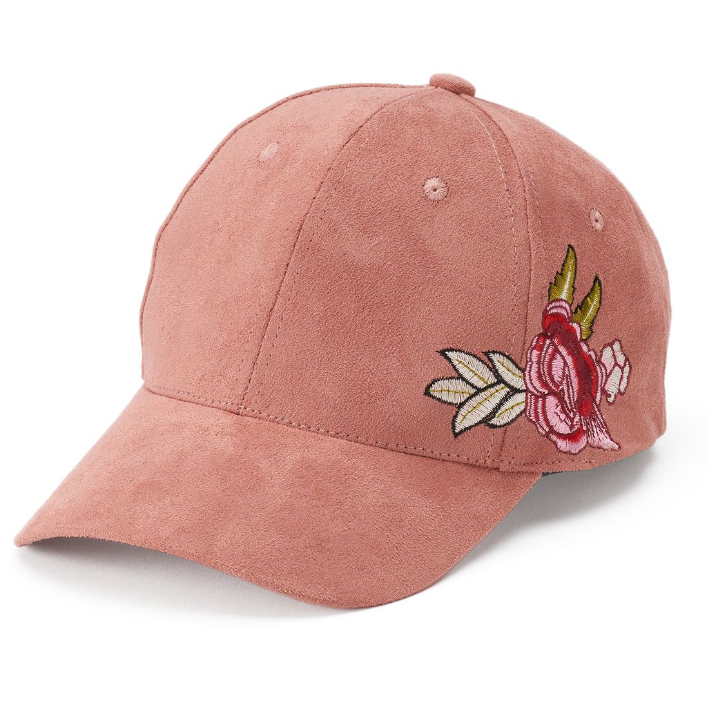 Women's Mudd® Embroidered Rose Suede Baseball Cap