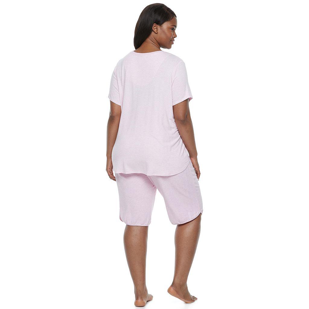 Plus Size Croft & Barrow® Pajamas: Butterknit V-Neck Tee & Capris PJ Set