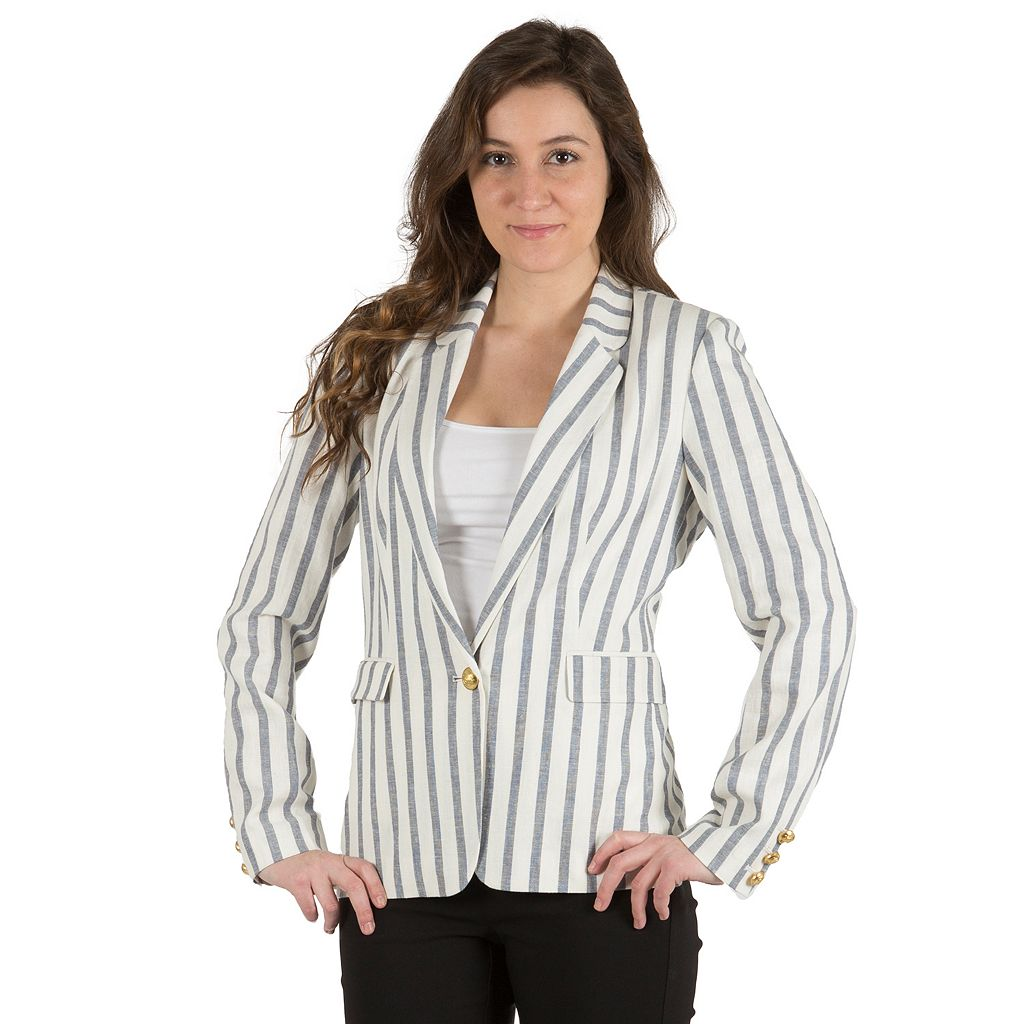 Women's Harve Benard Striped Linen Blazer